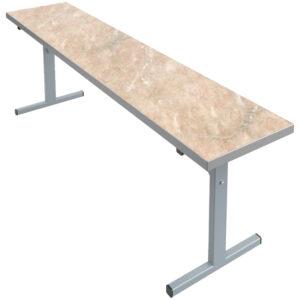 Скамья для стола обеденного Мета Мебель, 3-местная, 1500*320*460, каркас серый, ДСП/пластик мрамор