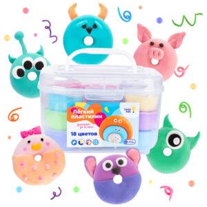 Легкий пластилин Genio Kids, 18 цветов, пластиковая коробка