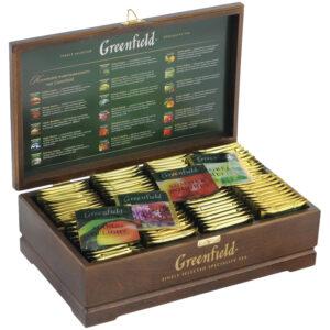 Подарочный набор чая Greenfield, 8 видов по 12 фольг. пакетиков, деревянная шкатулка