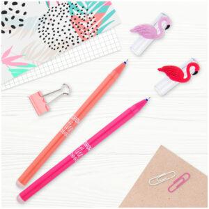 """Ручка гелевая стираемая MESHU """"Flamingo"""" синяя, 0,5мм, корпус ассорти"""