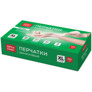 Перчатки виниловые белые OfficeClean, неопудренные, прочные, разм. XL, 50 пар (100шт), карт.короб.