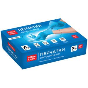 Перчатки нитриловые голубые OfficeClean, неопудренные,прочные, разм.XL, 50 пар (100шт), карт.короб.
