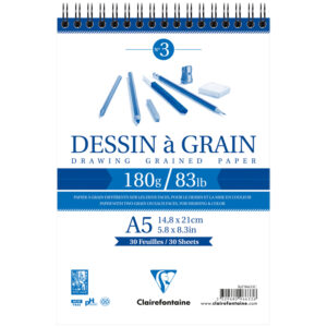 "Скетчбук 30л. А5 на гребне Clairefontaine ""Dessin a grain"", 180г/м2, мелкозернистая"