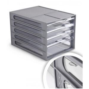 Блок из 4 выдвижных лотков Стамм, серый корпус, прозрачные лотки