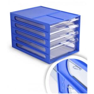 Блок из 4 выдвижных лотков Стамм, синий корпус, прозрачные лотки
