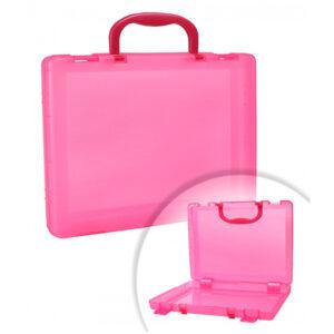 Портфель-кейс 1 отделение Стамм, A4, 275*375*57мм, на защелках, тонированный розовый