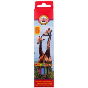 """Карандаши цветные Koh-I-Noor """"Животные"""", 06цв., заточен., картон, европодвес"""