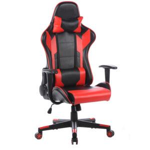 """Кресло игровое Helmi HL-G01 """"Victory"""", искусственная кожа, черная/красная, 2 подушки"""