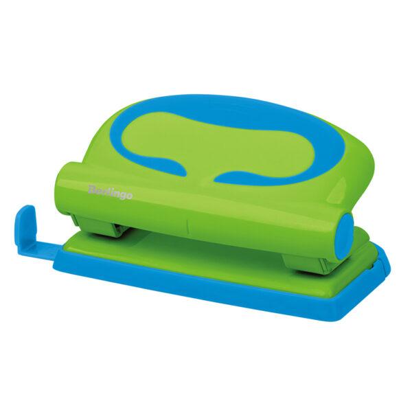 """Дырокол Berlingo """"Fuze"""" 10л., пластиковый, зеленый, с линейкой"""