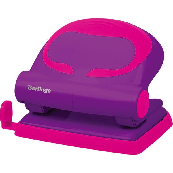 """Дырокол Berlingo """"Fuze"""" 20л., пластиковый, фиолетовый, с линейкой"""