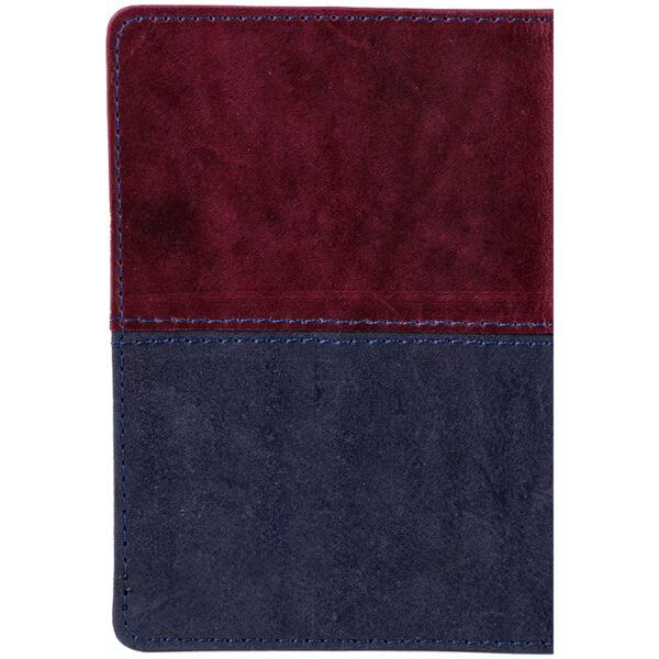 """Обложка для паспорта OfficeSpace """"Duo"""", кожа, бордо+синий, тиснение фольгой"""