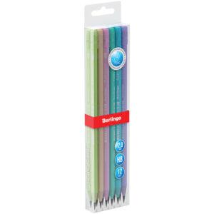 """Карандаш ч/г Berlingo """"Flexy Pastel"""" HB, с ластиком, трехгранный, заточен., пластиковый, ПВХ-бокс"""