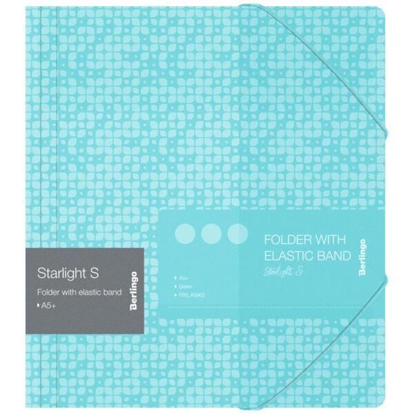 """Папка для тетрадей на резинке Berlingo """"Starlight S"""" А5+, 600мкм, зеленая, с рисунком"""