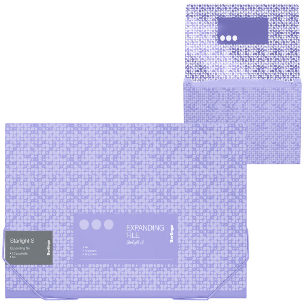 """Папка на резинке, 12 отделений Berlingo """"Starlight S"""" A4, 230*335*35мм, 700мкм, фиолетовая, c рисунком"""