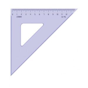 Треугольник 45°, 12см Стамм, прозрачный тонированный