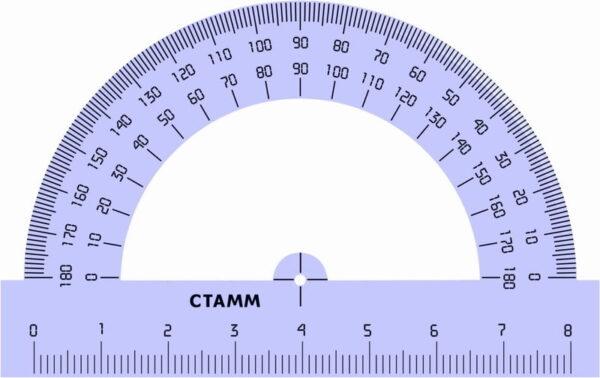 Транспортир 08см, 180° Стамм, прозрачный тонированный