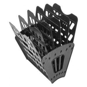 Лоток для бумаг веерный Стамм, 6-ти секционный, черный
