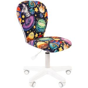 Кресло детское Chairman Kids 105, PL белый, ткань велюр, НЛО, регулировка по высоте, без подл.