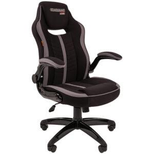 """Кресло игровое Chairman """"Game 19"""", ткань черная/серая, механизм качания, откидной подлокотник"""