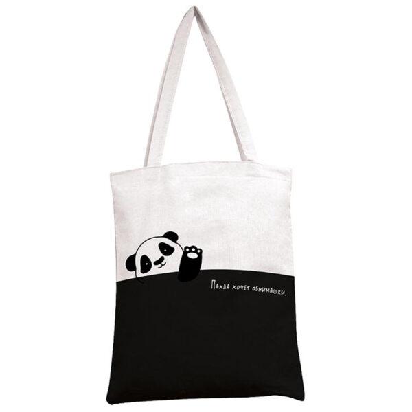 """Сумка-шоппер Арт и Дизайн """"Панда"""", 35*42см., двухцветная"""