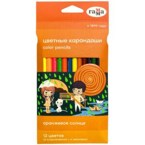 """Карандаши цветные Гамма """"Оранжевое солнце"""", 12 цв. (6 классич. + 6 неон.), заточен., картон, европодвес"""