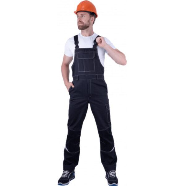 Полукомбинезон мужской ТУРБО SAFETY от механических воздействий и ОПЗ, темно-серый/чёрный