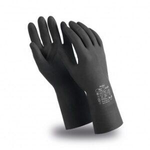 Перчатки КЩС-1 (CG-942), латекс, 0.50 мм, 300 мм, без подкладки, цвет черный