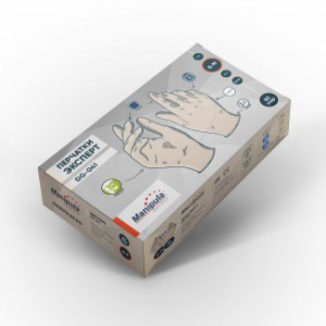 Перчатки ЭКСПЕРТ (DG-041), латекс, 0.12 мм, опудренные, гладкие, цвет белый