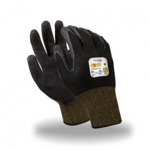 Перчатки МИКРОТЕХ, (MG-141), нейлон, латекс частичный, оверлок, цвет черный