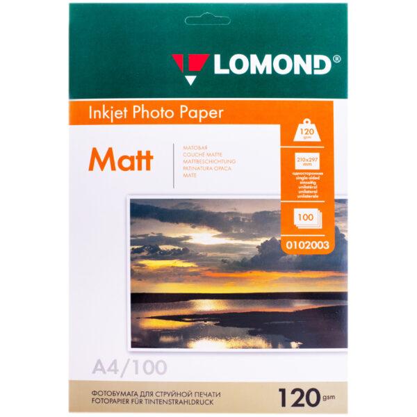 Фотобумага А4 для стр. принтеров Lomond, 120г/м2 (100л) мат.одн.