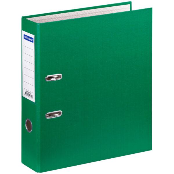 Папка-регистратор OfficeSpace, 70мм, бумвинил, с карманом на корешке, зеленая