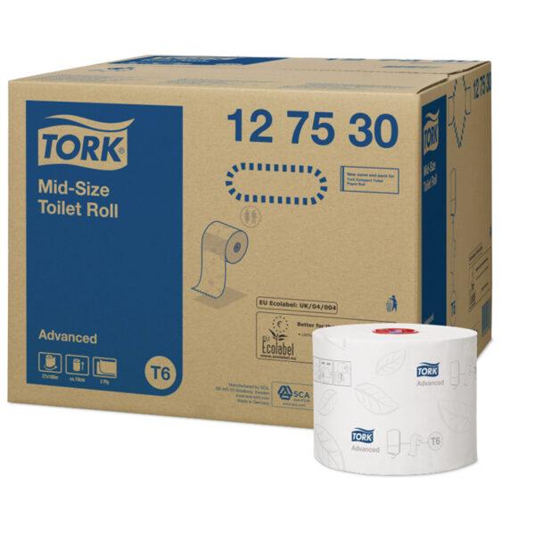 """Бумага туалетная Tork """"Advanced""""(Т6) 2-слойная, Mid-size рулон, 100м/рул, мягкая, тиснение, белая"""