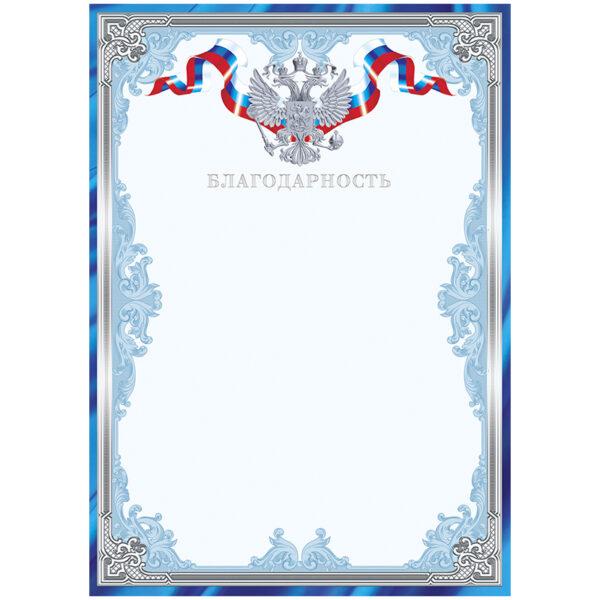Благодарность A4, ArtSpace, мелованный картон, тиснение фольгой, синяя