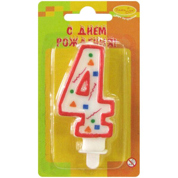 """Свеча для торта с держателем ПатиБум """"Цифра 4. Красное конфетти"""", 7см"""