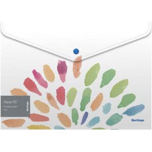 "Папка-конверт на кнопке Berlingo ""Aqua XS"" A4, 180мкм, с рисунком"