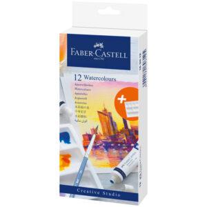 "Акварель художественная Faber-Castell ""Watercolours"", 12цв.,  9мл, туба, картон. упаковка"
