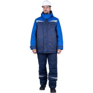 Костюм мужской КМ-10 ЛЮКС от пониженных температур воздуха и ветра, механических воздействий и ОПЗ (куртка, полукомбинезон), синий/василек
