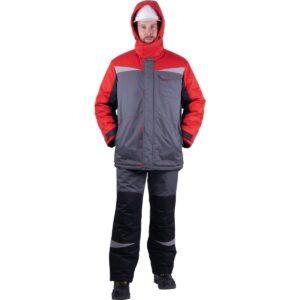 Костюм мужской КМ-10 ЛЮКС от пониженных температур воздуха и ветра, механических воздействий и ОПЗ (куртка, полукомбинезон), серый/красный/чёрный