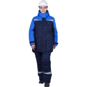 Костюм женский КМ-10 ЛЮКС от пониженных температур воздуха и ветра, механических воздействий и ОПЗ (куртка, брюки), синий/василек