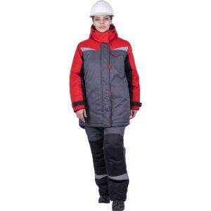 Костюм женский КМ-10 ЛЮКС от пониженных температур воздуха и ветра, механических воздействий и ОПЗ (куртка, брюки), серый/красный/черный