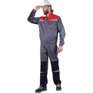 Костюм мужской КМ-10 ЛЮКС от механических воздействий и ОПЗ (куртка, брюки), серый/красный/черный