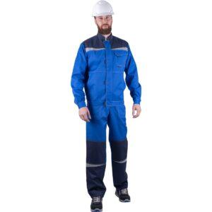 Костюм мужской КМ-10 ЛЮКС от механических воздействий и ОПЗ (куртка, брюки),  василек/темно-синий